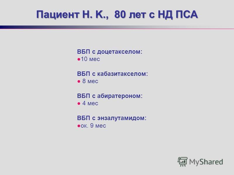 ВБП с доцетакселом: 10 мес ВБП с кабазитакселом: 8 мес ВБП с абиратероном: 4 мес ВБП с энзалутамидом: ок. 9 мес Пациент H. K., 80 лет с НД ПСА
