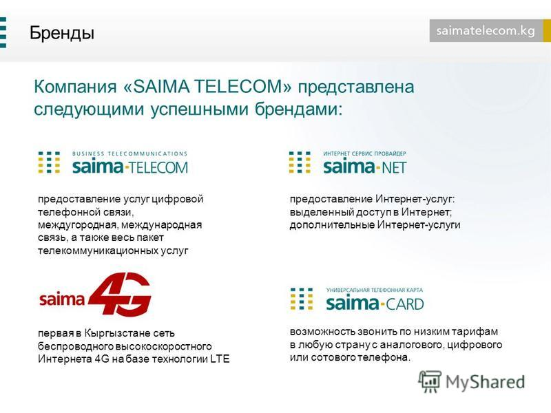 Бренды предоставление услуг цифровой телефонной связи, междугородная, международная связь, а также весь пакет телекоммуникационных услуг Компания «SAIMA TELECOM» представлена следующими успешными брендами: первая в Кыргызстане сеть беспроводного высо