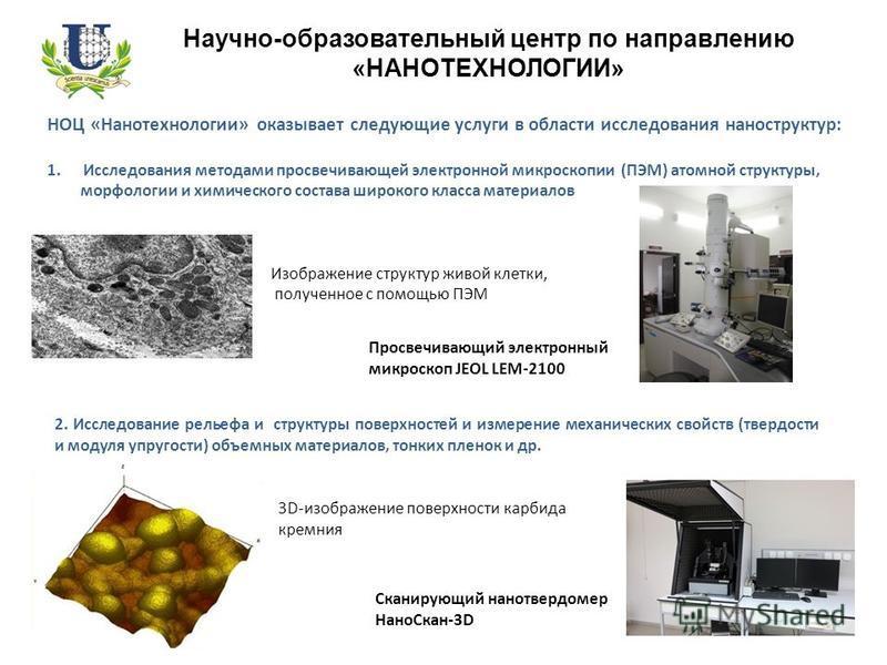 Научно-образовательный центр по направлению «НАНОТЕХНОЛОГИИ» НОЦ «Нанотехнологии» оказывает следующие услуги в области исследования наноструктур: 1. Исследования методами просвечивающей электронной микроскопии (ПЭМ) атомной структуры, морфологии и хи
