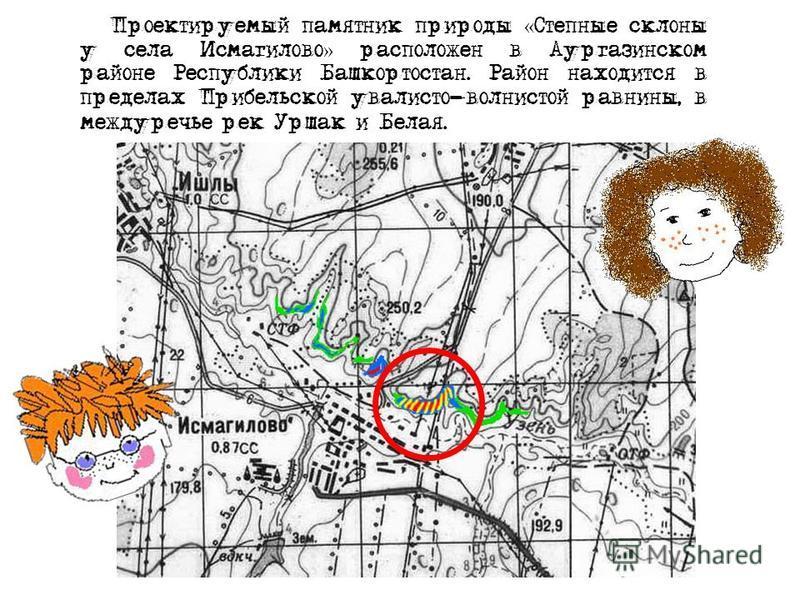 Проектируемый памятник природы « Степные склоны у села Исмагилово » расположен в Аургазинском районе Республики Башкортостан. Район находится в пределах Прибельской увалисто-волнистой равнины, в междуречье рек Уршак и Белая.