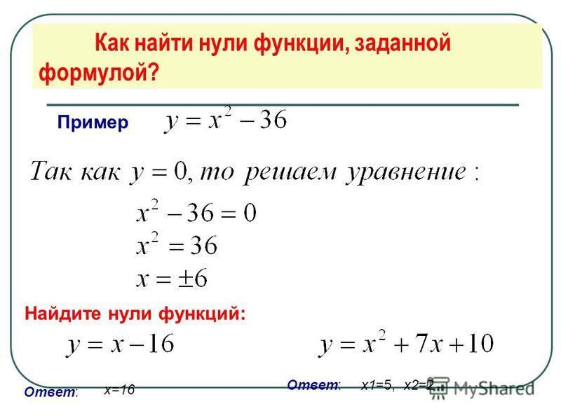 Как найти нули функции, заданной формулой? Пример