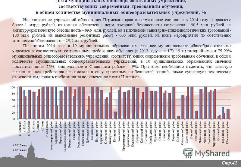 Стр.41 На приведение учреждений образования Пермского края в нормативное состояние в 2014 году направлено более 1 млрд. рублей, из них на обеспечение норм пожарной безопасности направлено - 90,5 млн. рублей, на антитеррористическую безопасность - 89,