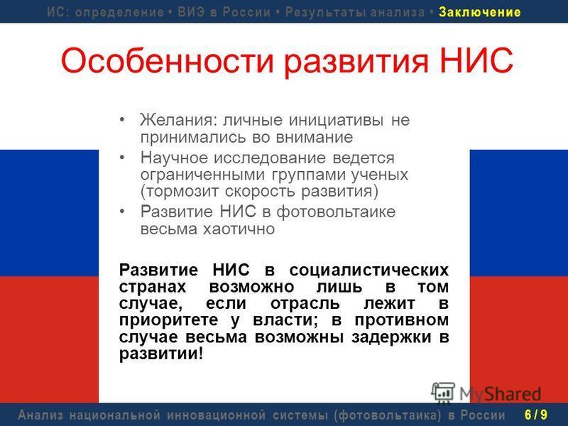 Анализ национальной инновационной системы (фотовольтаика) в России 6 / 9 Желания: личные инициативы не принимались во внимание Научное исследование ведется ограниченными группами ученых (тормозит скорость развития) Развитие НИС в фотовольтаике весьма