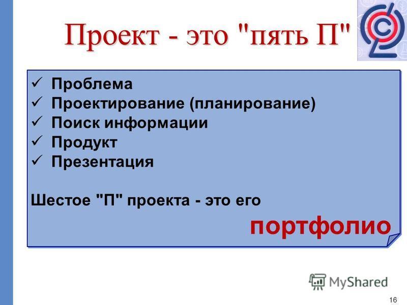 16 Проблема Проектирование (планирование) Поиск информации Продукт Презентация Шестое
