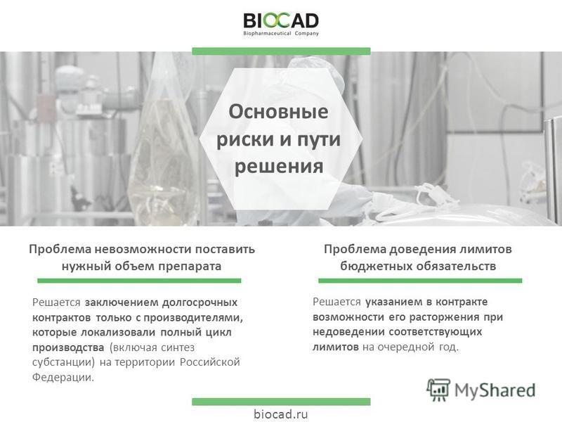biocad.ru Основные риски и пути решения Проблема доведения лимитов бюджетных обязательств Решается указанием в контракте возможности его расторжения при недоведении соответствующих лимитов на очередной год. Проблема невозможности поставить нужный объ
