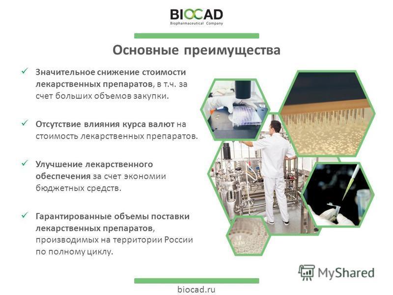 biocad.ru Основные преимущества Значительное снижение стоимости лекарственных препаратов, в т.ч. за счет больших объемов закупки. Отсутствие влияния курса валют на стоимость лекарственных препаратов. Улучшение лекарственного обеспечения за счет эконо
