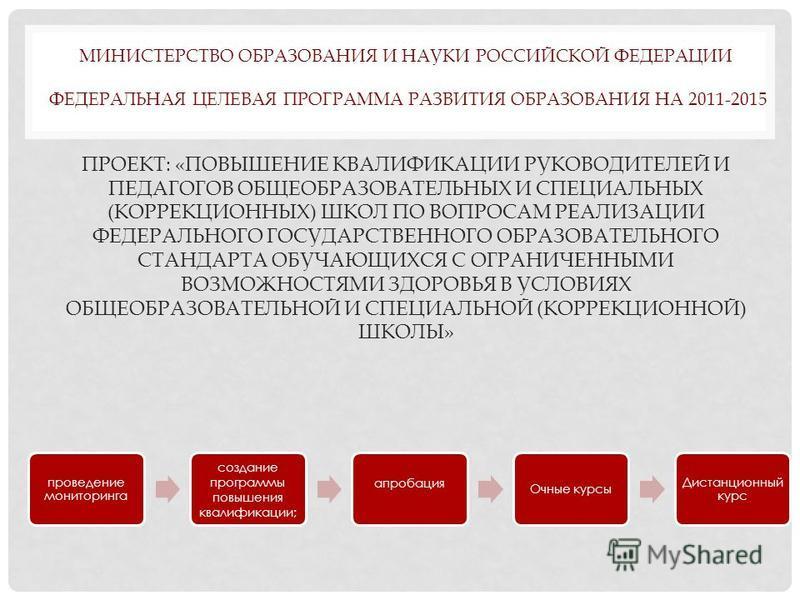 МИНИСТЕРСТВО ОБРАЗОВАНИЯ И НАУКИ РОССИЙСКОЙ ФЕДЕРАЦИИ ФЕДЕРАЛЬНАЯ ЦЕЛЕВАЯ ПРОГРАММА РАЗВИТИЯ ОБРАЗОВАНИЯ НА 2011-2015 ПРОЕКТ: «ПОВЫШЕНИЕ КВАЛИФИКАЦИИ РУКОВОДИТЕЛЕЙ И ПЕДАГОГОВ ОБЩЕОБРАЗОВАТЕЛЬНЫХ И СПЕЦИАЛЬНЫХ (КОРРЕКЦИОННЫХ) ШКОЛ ПО ВОПРОСАМ РЕАЛИЗА