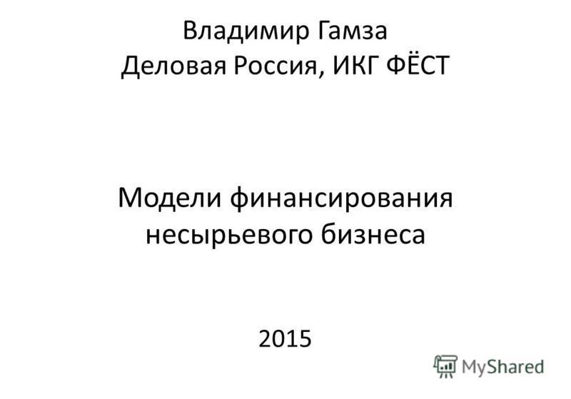 Владимир Гамза Деловая Россия, ИКГ ФЁСТ Модели финансирования несырьевого бизнеса 2015