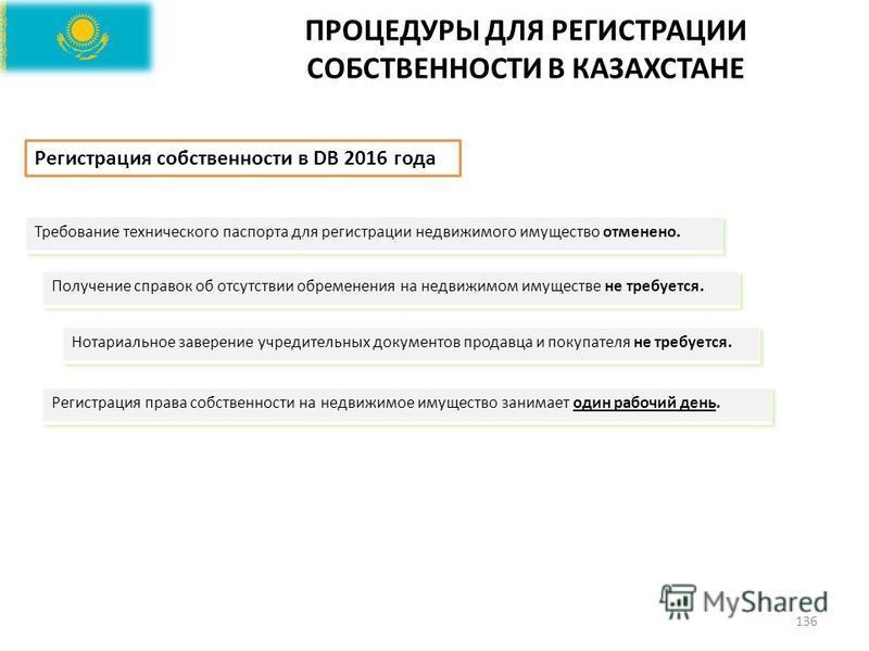 ПРОЦЕДУРЫ ДЛЯ РЕГИСТРАЦИИ СОБСТВЕННОСТИ В КАЗАХСТАНЕ 136 Регистрация собственности в DB 2016 года