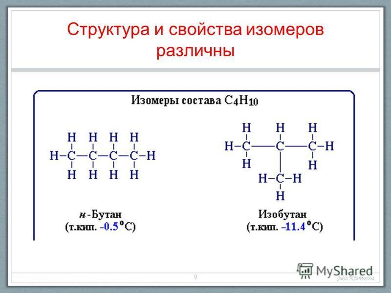 Структура и свойства изомеров различны Julia Kjahrenova 9