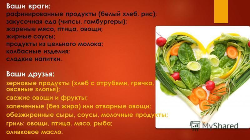 Ваши враги: рафинированные продукты (белый хлеб, рис); закусочная еда (чипсы, гамбургеры); жареные мясо, птица, овощи; жирные соусы; продукты из цельного молока; колбасные изделия; сладкие напитки. Ваши друзья: зерновые продукты (хлеб с отрубями, гре