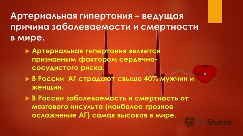 Артериальная гипертония – ведущая причина заболеваемости и смертности в мире. Артериальная гипертония является признанным фактором сердечно- сосудистого риска. В России АГ страдают свыше 40% мужчин и женщин. В России заболеваемость и смертность от мо