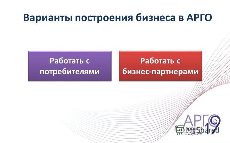 Варианты построения бизнеса в АРГО Работать с потребителями Работать с бизнес-партнерами