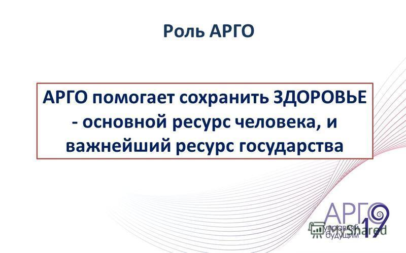 АРГО помогает сохранить ЗДОРОВЬЕ - основной ресурс человека, и важнейший ресурс государства Роль АРГО