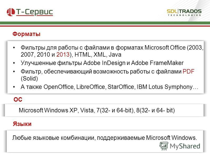 Фильтры для работы с файлами в форматах Microsoft Office (2003, 2007, 2010 и 2013), HTML, XML, Java Улучшенные фильтры Adobe InDesign и Adobe FrameMaker Фильтр, обеспечивающий возможность работы с файлами PDF (Solid) А также OpenOffice, LibreOffice,