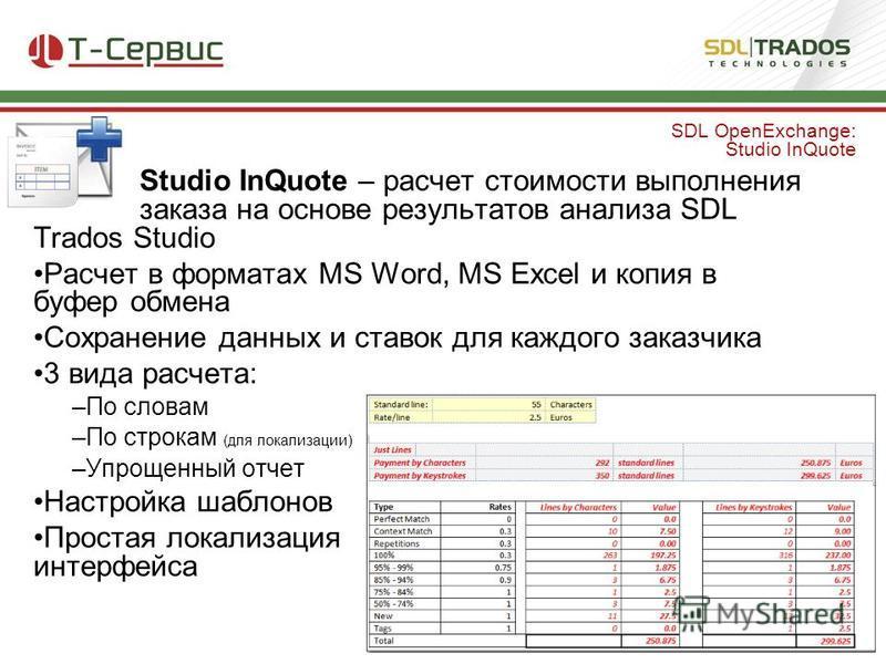 Studio InQuote – расчет стоимости выполнения заказа на основе результатов анализа SDL Trados Studio Расчет в форматах MS Word, MS Excel и копия в буфер обмена Сохранение данных и ставок для каждого заказчика 3 вида расчета: –По словам –По строкам (дл