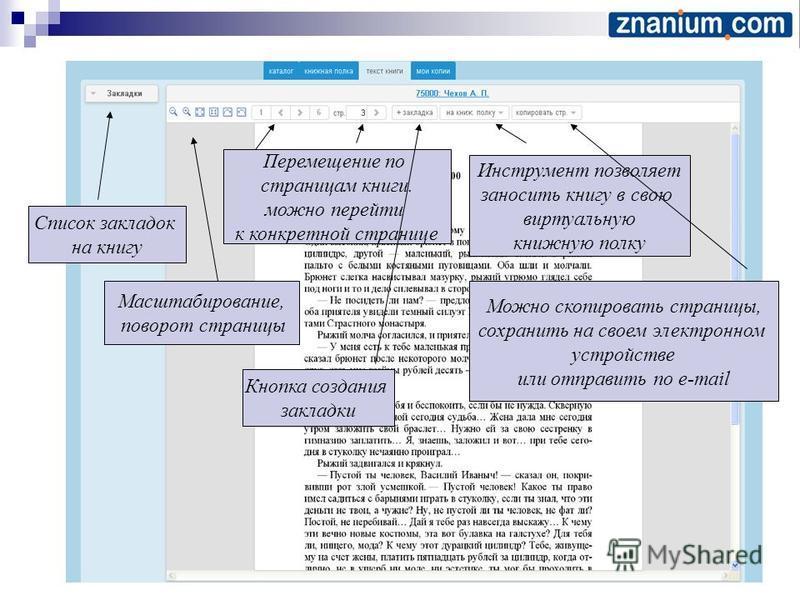 Можно скопировать страницы, сохранить на своем электронном устройстве или отправить по e-mail Инструмент позволяет заносить книгу в свою виртуальную книжную полку Кнопка создания закладки Перемещение по страницам книги. можно перейти к конкретной стр