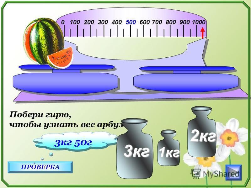 0 100 200 300 400 500 600 700 800 900 1000 ПРОВЕРКА 3 кг 50 г Побери гирю, чтобы узнать вес арбуза. 2 кг 1 кг 3 кг 3 кг