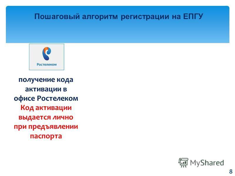 Пошаговый алгоритм регистрации на ЕПГУ получение кода активации в офисе Ростелеком Код активации выдается лично при предъявлении паспорта 8
