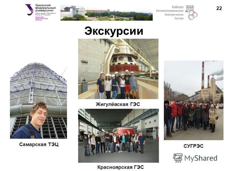 Экскурсии 22 Самарская ТЭЦ Жигулёвская ГЭС Красноярская ГЭС СУГРЭС