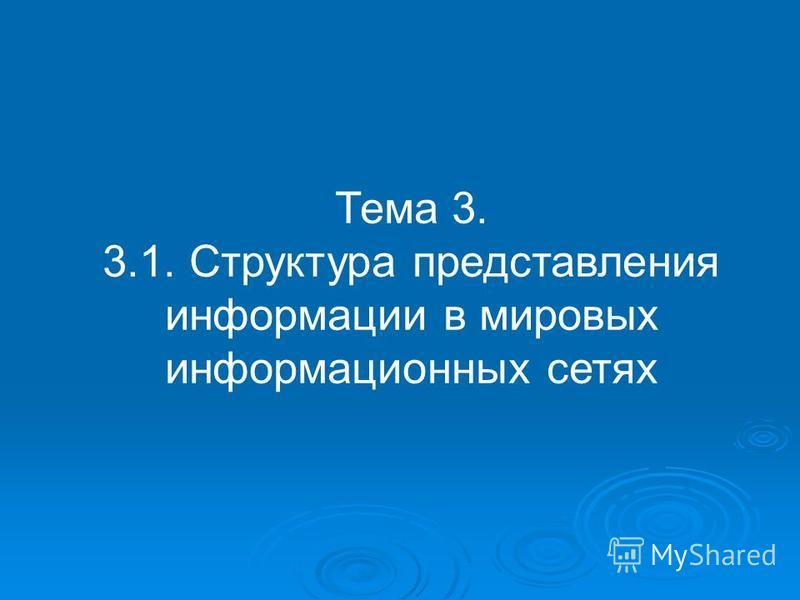 Тема 3. 3.1. Структура представления информации в мировых информационных сетях