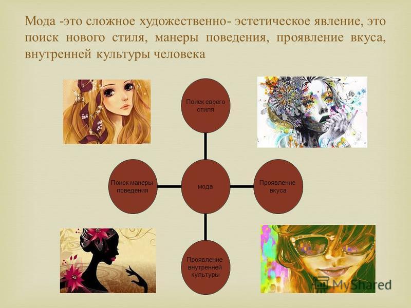 Мода - это с ложное художественно - эстетическое явление, э то поиск нового с тиля, манеры поведения, проявление в куса, внутренней культуры человека мода Поиск своего стиля Проявление вкуса Проявление внутренней культуры Поиск манеры поведения