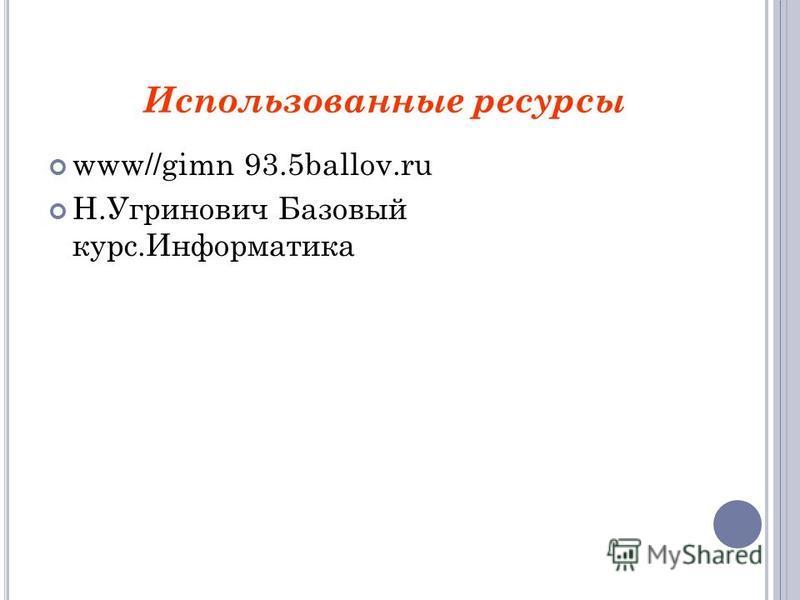 www//gimn 93.5ballov.ru Н.Угринович Базовый курс.Информатика Использованные ресурсы