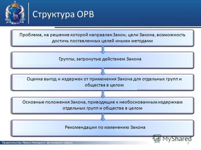 Структура ОРВ Правительство Ямало-Ненецкого автономного округа Проблема, на решение которой направлен Закон, цели Закона, возможность достичь поставленных целей иными методами Группы, затронутые действием Закона Оценка выгод и издержек от применения