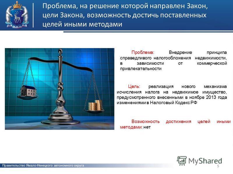 Проблема, на решение которой направлен Закон, цели Закона, возможность достичь поставленных целей иными методами 5 Цель: реализация нового механизма исчисления налога на недвижимое имущество, предусмотренного внесенными в ноябре 2013 года изменениями