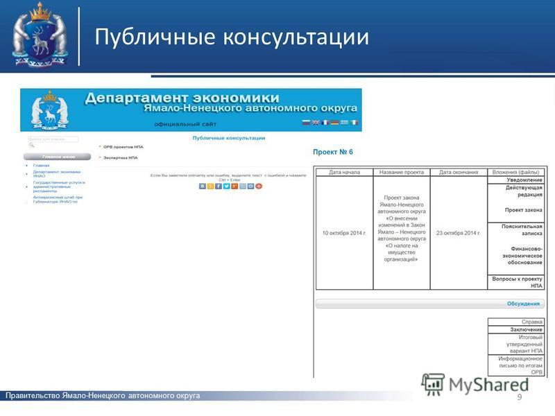 Публичные консультации Правительство Ямало-Ненецкого автономного округа 9
