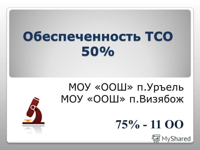 Обеспеченность ТСО 50% МОУ «ООШ» п.Уръель МОУ «ООШ» п.Визябож 75% - 11 ОО