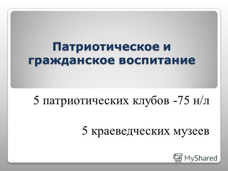 Патриотическое и гражданское воспитание 5 патриотических клубов -75 н/л 5 краеведческих музеев