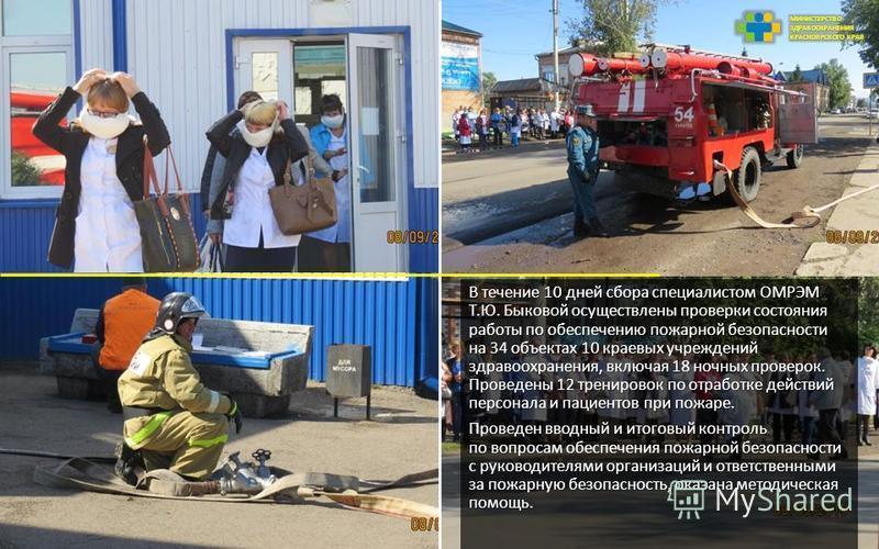 В течение 10 дней сбора специалистом ОМРЭМ Т.Ю. Быковой осуществлены проверки состояния работы по обеспечению пожарной безопасности на 34 объектах 10 краевых учреждений здравоохранения, включая 18 ночных проверок. Проведены 12 тренировок по отработке