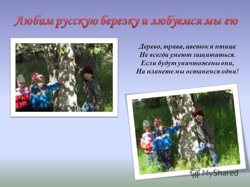 Дерево, трава, цветок и птица Не всегда умеют защититься. Если будут уничтожены они, На планете мы останемся одни!