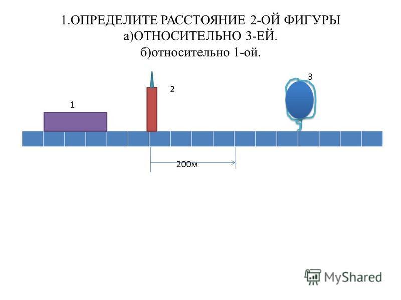 1. ОПРЕДЕЛИТЕ РАССТОЯНИЕ 2-ОЙ ФИГУРЫ а)ОТНОСИТЕЛЬНО 3-ЕЙ. б)относительно 1-ой. 1 2 3 200 м