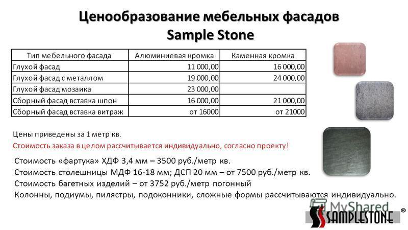 Ценообразование мебельных фасадов Sample Stone Sample Stone Стоимость «фартука» ХДФ 3,4 мм – 3500 руб./метр кв. Стоимость столешницы МДФ 16-18 мм; ДСП 20 мм – от 7500 руб./метр кв. Стоимость багетных изделий – от 3752 руб./метр погонный Колонны, поди