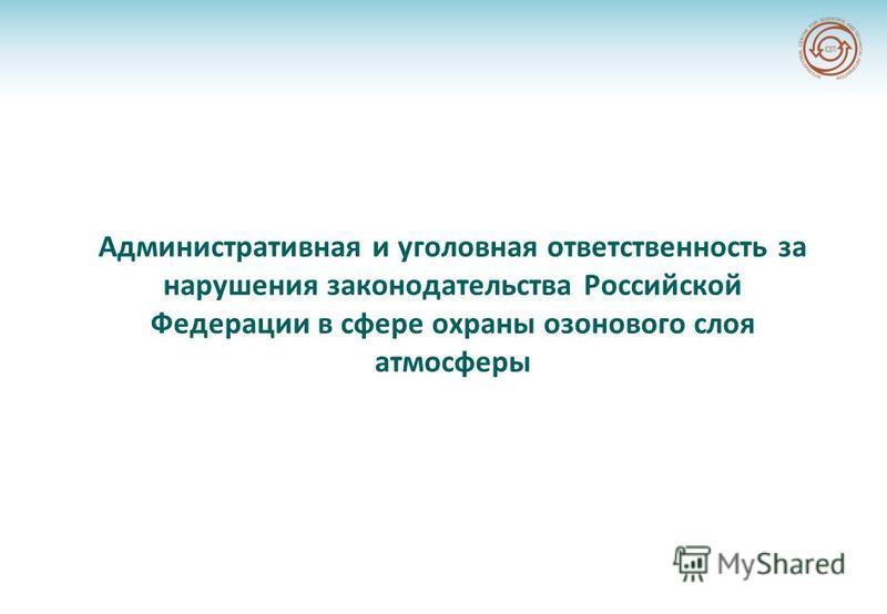 Административная и уголовная ответственность за нарушения законодательства Российской Федерации в сфере охраны озонового слоя атмосферы