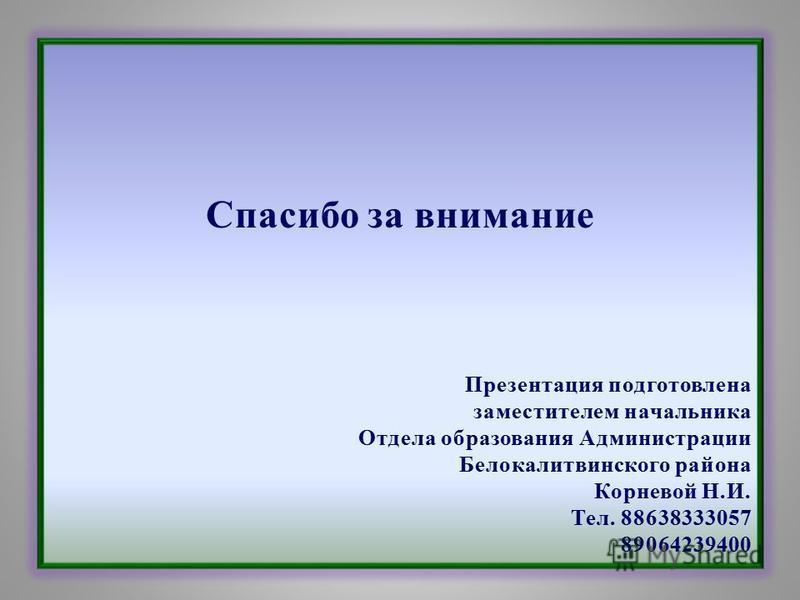 Спасибо за внимание Презентация подготовлена заместителем начальника Отдела образования Администрации Белокалитвинского района Корневой Н.И. Тел. 88638333057 89064239400
