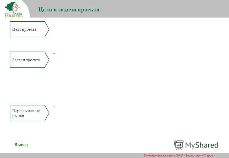 Коммерческая тайна ЗАО «Технопарк «Саров» Цели и задачи проекта _ _ Цель проекта Задачи проекта Перспективные рынки _ Вывод
