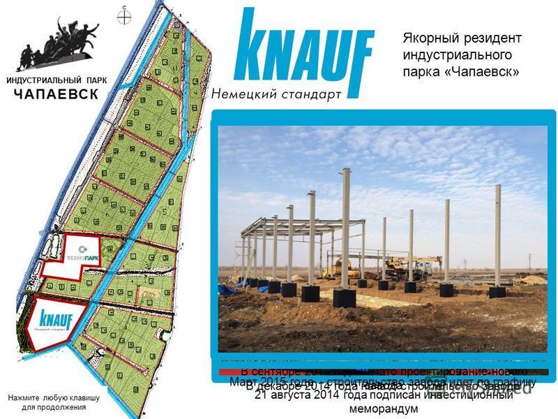 Якорный резидент индустриального парка «Чапаевск» 21 августа 2014 года подписан инвестиционный меморандум ИНДУСТРИАЛЬНЫЙ ПАРК ЧАПАЕВСК В сентябре 2014 года начато проектирование нового завода В декабре 2014 года начато строительство завода Март 2015