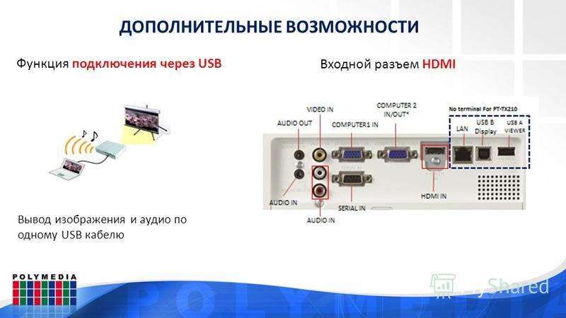 ДОПОЛНИТЕЛЬНЫЕ ВОЗМОЖНОСТИ Функция подключения через USB Вывод изображения и аудио по одному USB кабелю Входной разъем HDMI