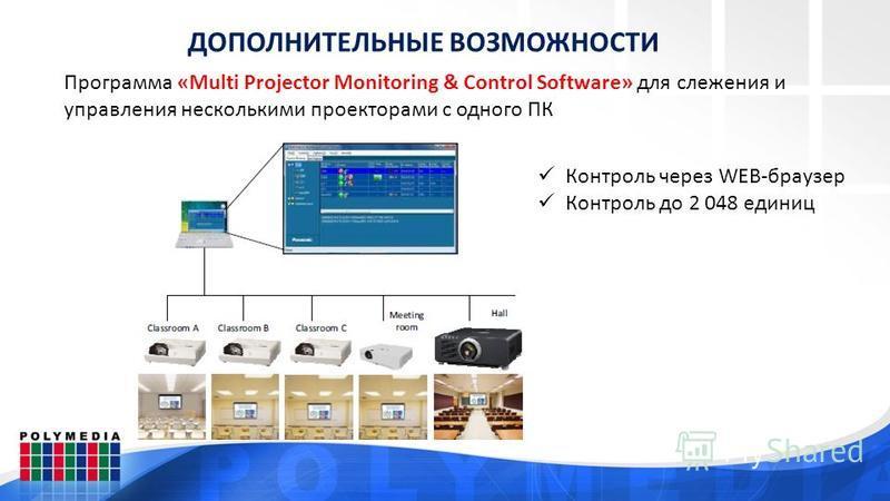 ДОПОЛНИТЕЛЬНЫЕ ВОЗМОЖНОСТИ Контроль через WEB-браузер Контроль до 2 048 единиц Программа «Multi Projector Monitoring & Control Software» для слежения и управления несколькими проекторами с одного ПК