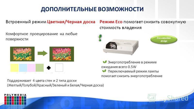 ДОПОЛНИТЕЛЬНЫЕ ВОЗМОЖНОСТИ Встроенный режим Цветная/Черная доска Комфортное проецирование на любые поверхности Поддерживает 4 цвета стен и 2 типа доски (Желтый/Голубой/Красный/Зеленый и Белая/Черная доска) Режим Eco помогает снизить совокупную стоимо
