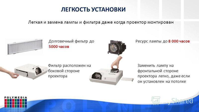 ЛЕГКОСТЬ УСТАНОВКИ Легкая и замена лампы и фильтра даже когда проектор монтирован Ресурс лампы до 8 000 часов Долговечный фильтр до 5000 часов Фильтр расположен на боковой стороне проектора Заменить лампу на фронтальной стороне проектора легко, даже