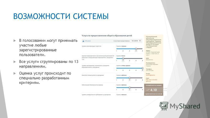 ВОЗМОЖНОСТИ СИСТЕМЫ В голосовании могут принимать участие любые зарегистрированные пользователи. Все услуги сгруппированы по 13 направлениям. Оценка услуг происходит по специально разработанным критериям.