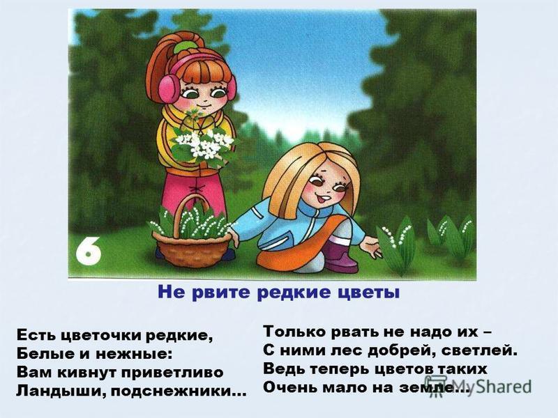 Не рвите редкие цветы Есть цветочки редкие, Белые и нежные: Вам кивнут приветливо Ландыши, подснежники… Только рвать не надо их – С ними лес добрей, светлей. Ведь теперь цветов таких Очень мало на земле… Не рвите редкие цветы. Есть цветочки редкие, б