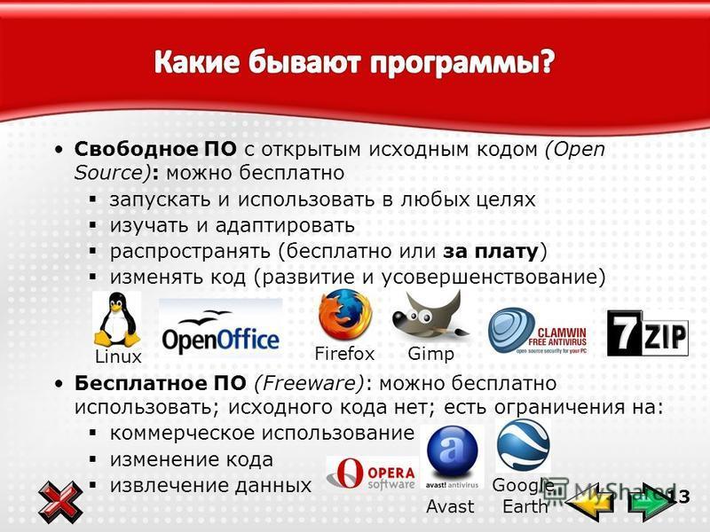 13 Свободное ПО с открытым исходным кодом (Open Source): можно бесплатно запускать и использовать в любых целях изучать и адаптировать распространять (бесплатно или за плату) изменять код (развитие и усовершенствование) Бесплатное ПО (Freeware): можн