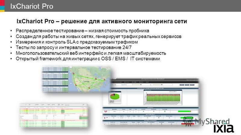 IxChariot Pro IxChariot Pro – решение для активного мониторинга сети Распределенное тестирование – низкая стоимость пробника Создан для работы на живых сетях, генерирует трафик реальных сервисов Измерения и контроль SLA с предсказуемым трафиком Тесты