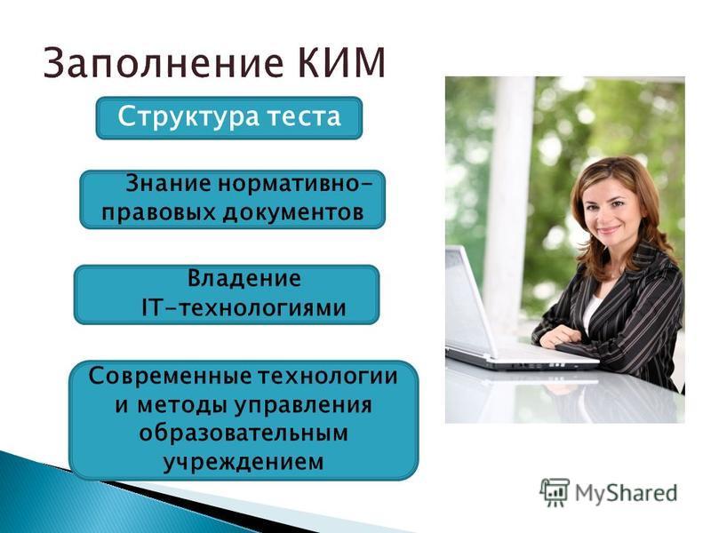 Структура теста Владение IT-технологиями Современные технологии и методы управления образовательным учреждением Знание нормативно- правовых документов
