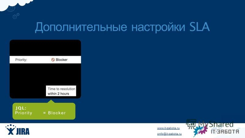 www.it-zabota.ru onfo@it-zabota.ru JQ L : Priority = Blocker Дополнительные настройки SLA